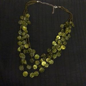 Green necklace falls so nice